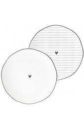 Beilagenteller Stripes & little Heart 2tlg. Set versch. Motive Keramikgeschirr gedeckter Tisch Küche Side Plate