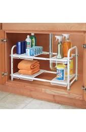 mDesign Bad Unterschrank Organizer – mit 2 Regalen – praktisches Badregal für Badzubehör Putz- und Waschmittel – weiß