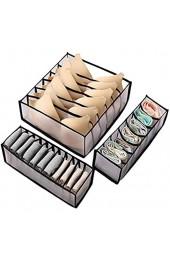 Rich-home Schubladen Organizer 3er-Set Unterwäsche Socken BH Schubladen Aufbewahrung organisieren Schrank Aufbewahrungsbox mit Trennwänden Netzmaterial waschbar (schwarz)