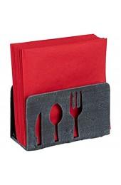 Relaxdays Serviettenhalter für 33x33 Servietten schwer mit Besteck Motiv Gusseisen Gastro Serviettenständer grau